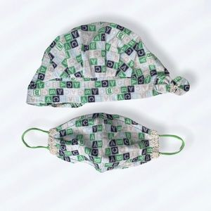 Women's cotton hat combined with Face masks Green